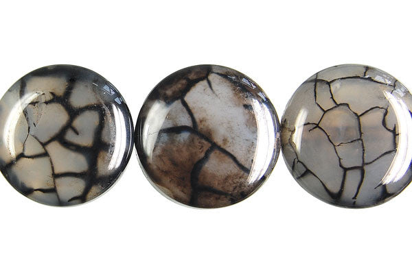 Fire Agate (Black) Coin Beads