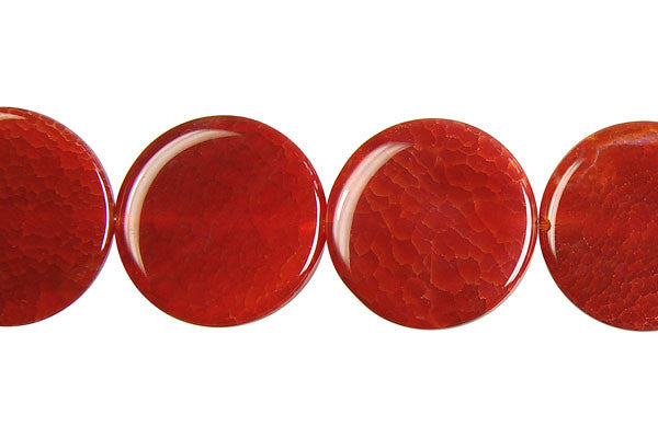 Fire Agate (Red) Coin Beads