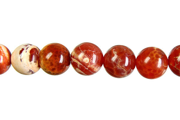 Fire Agate (Red) Round Beads