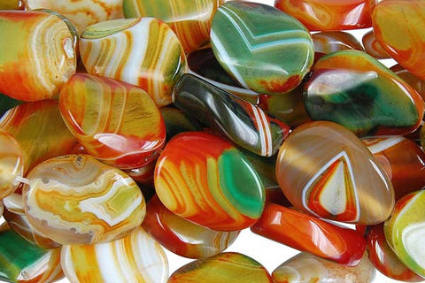 Agate (Rainbow) Twisted Flat Oval Beads