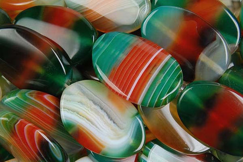 Agate (Rainbow) Flat Oval Beads