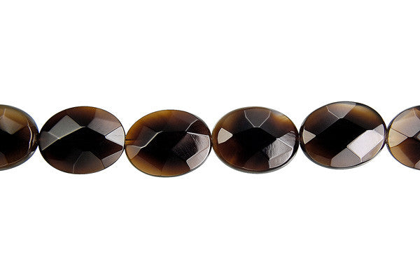Black Onyx Faceted Flat Oval (Transparent) Beads