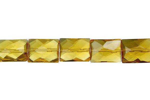Champagne Quartz Faceted Rectangle