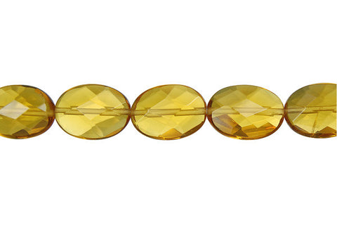 Champagne Quartz Faceted Flat Oval