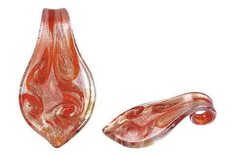 Pendant Murano Foil Glass Smooth Leaf (YHB04)