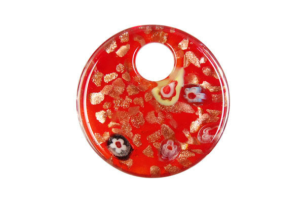 Pendant Murano Foil Glass Coin (YH12 Red)