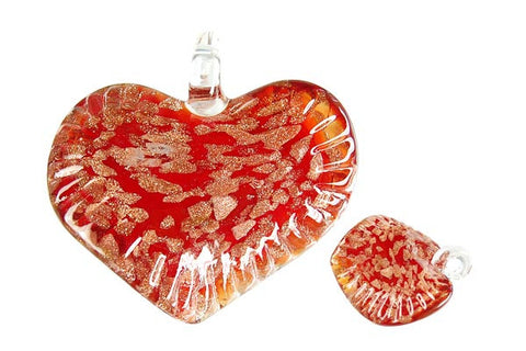 Pendant Murano Foil Glass Twisted Flat Heart (Red)