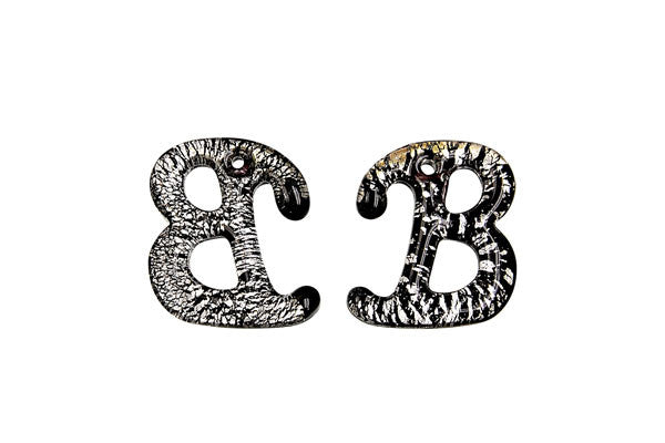 Pendant Murano Foil Glass Alphabet B (Black)
