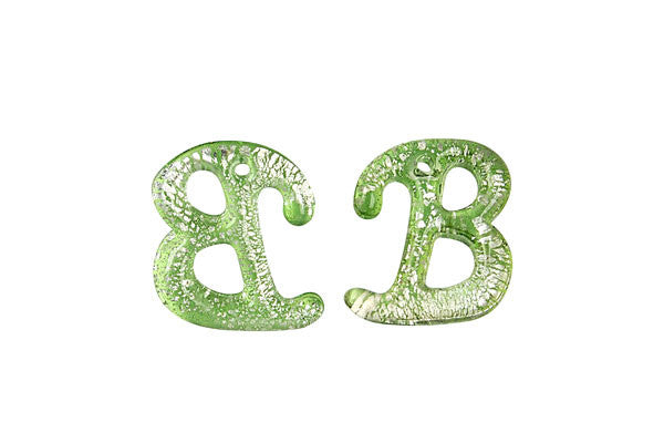 Pendant Murano Foil Glass Alphabet B (Green)