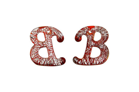 Pendant Murano Foil Glass Alphabet B (Red)