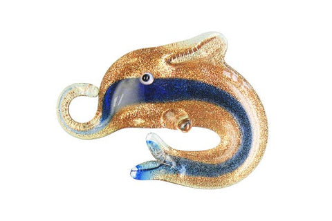 Pendant Murano Foil Glass Dolphins (XD02 Royal Blue)