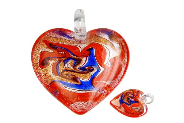 Pendant Murano Foil Glass Heart Style C (YHA02 Red)