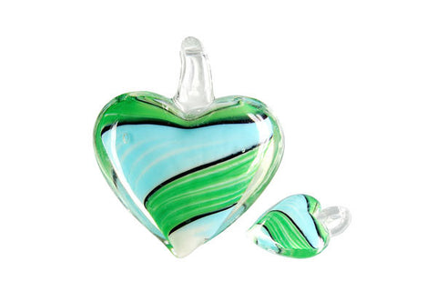 Pendant Murano Foil Glass Heart Screw Flower (XD 33 Green and Turquoise)