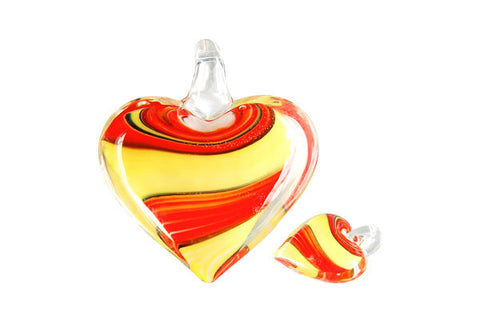 Pendant Murano Foil Glass Heart Screw Flower (XD 35 Yellow and Red)