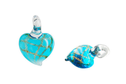 Murano Foil Glass Heart Earrings (Aqua)