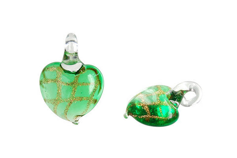 Murano Foil Glass Heart Earrings (Green)