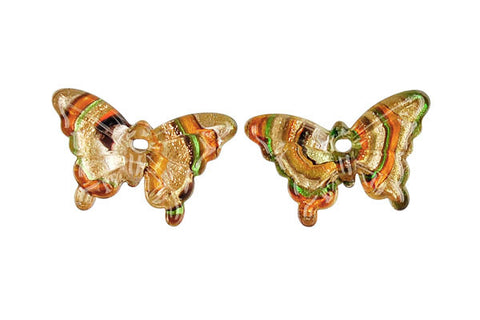 Murano Foil Glass Butterfly Earrings (YHA13 Amber)