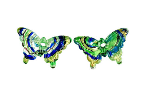 Murano Foil Glass Butterfly Earrings (YHA14 Green)