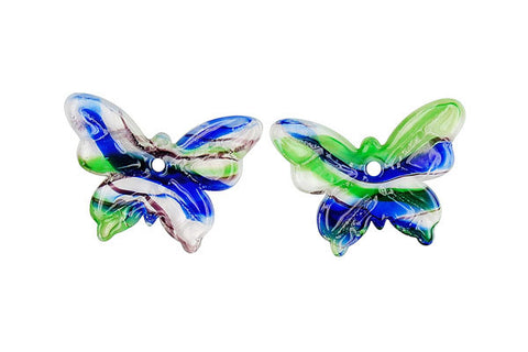 Murano Foil Glass Butterfly Earrings (YHA21 Blue and Green)