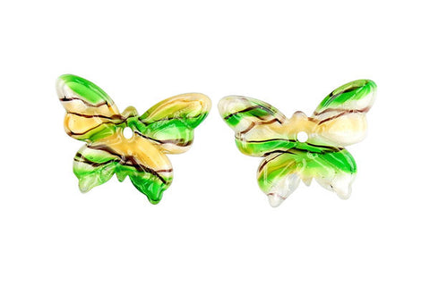 Murano Foil Glass Butterfly Earrings (YHA22 Green and Yellow )