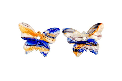 Murano Foil Glass Butterfly Earrings (YHA23 Blue and Orange)