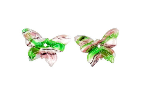 Murano Foil Glass Butterfly Earrings (YHA24 Green and Purple)