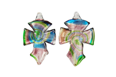 Murano Foil Glass Cross Earrings (YHA01 Purple)