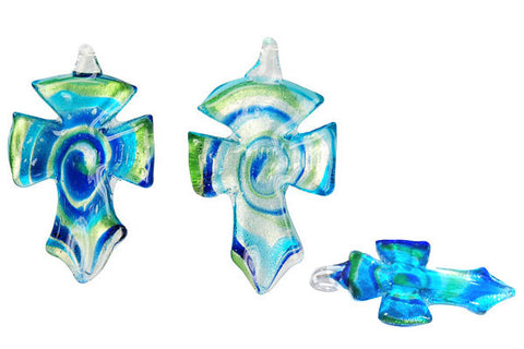 Murano Foil Glass Cross Earrings (YHA02 Aqua)