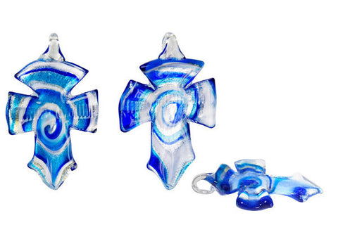 Murano Foil Glass Cross Earrings (YHA03 Blue)
