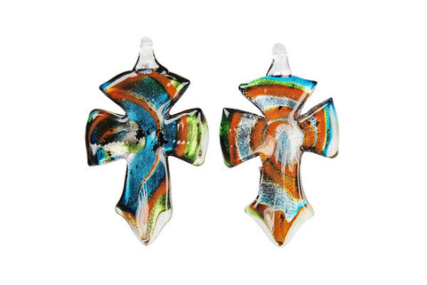 Murano Foil Glass Cross Earrings (YHA05 Black)