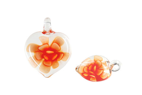 Murano Foil Glass Heart Flower Earrings (Orange)