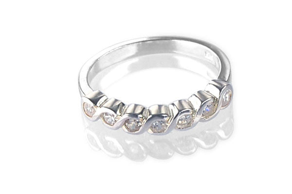 Cubic Zirconia Sterling Silver Clear Half Eternity