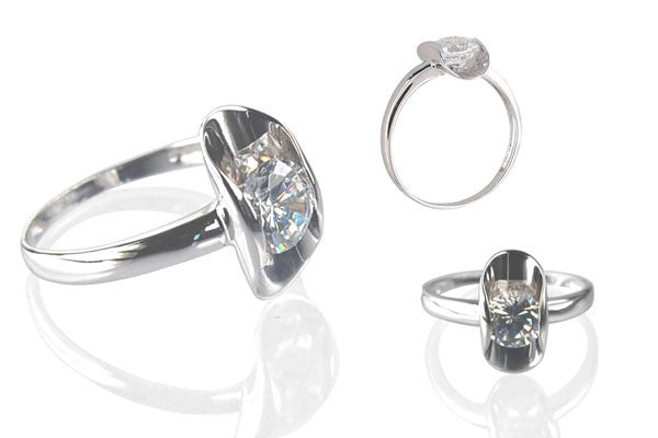 Cubic Zirconia Sterling Silver Clear Morning Dew
