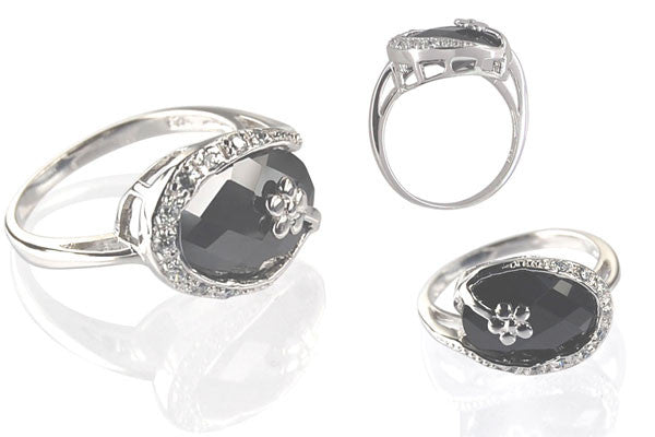 Cubic Zirconia Sterling Silver Black Oval Cocktail