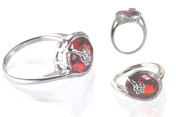 Cubic Zirconia Sterling Silver Garnet Red Oval Cocktail