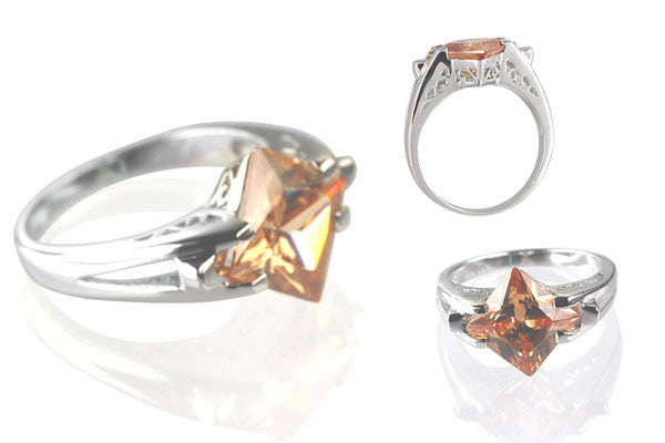 Cubic Zirconia Sterling Silver Golden Topaz Princess-Cut