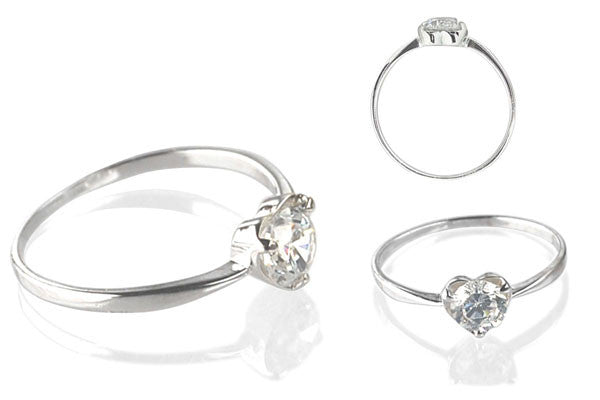Cubic Zirconia Sterling Silver 5mm Round Solitaire in Heart