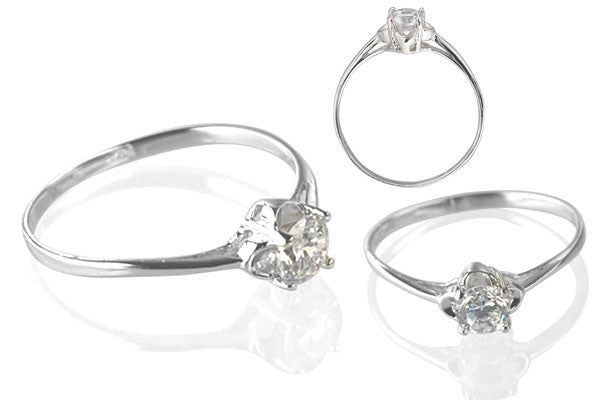 Cubic Zirconia Sterling Silver 5mm Round Solitaire on Clover