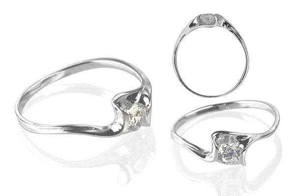 Cubic Zirconia Sterling Silver 4mm Round Solitaire on Folding Base