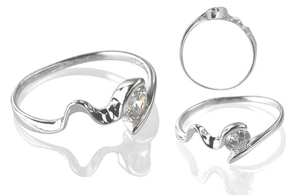 Cubic Zirconia Sterling Silver 4.5mm Round Solitaire with Bended