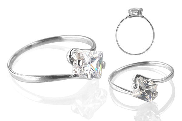 Cubic Zirconia Sterling Silver 5mm Princess-Cut Solitaire