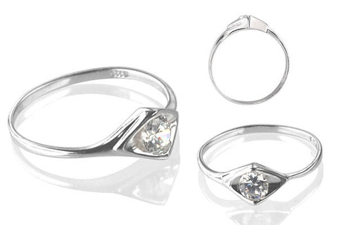 Cubic Zirconia Sterling Silver 4.5mm Round Solitaire in Concave