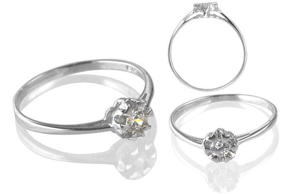 Cubic Zirconia Sterling Silver 3.5mm Round Solitaire with 6 Prongs