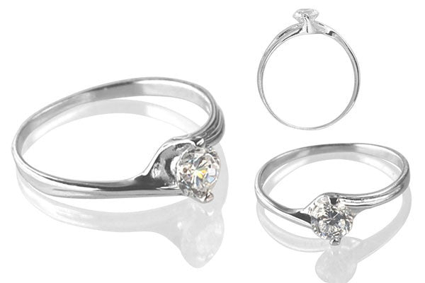 Cubic Zirconia Sterling Silver 5mm Round Solitaire