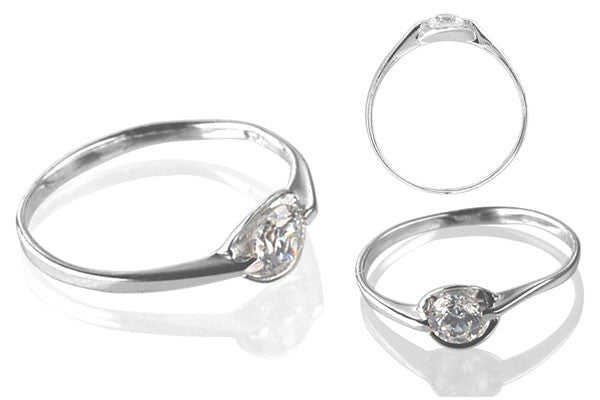 Cubic Zirconia Sterling Silver 4.5mm Round Solitaire