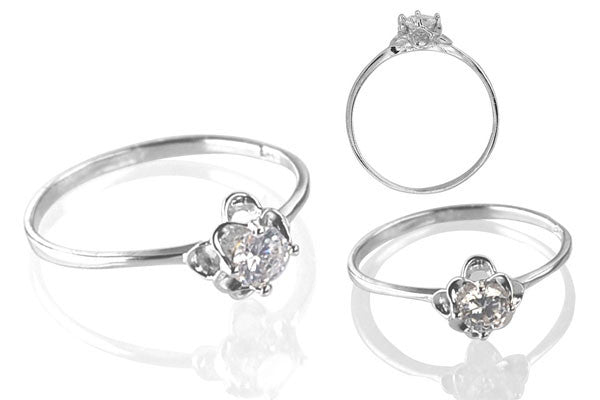 Cubic Zirconia Sterling Silver 4mm Round Solitaire in Double Flowers