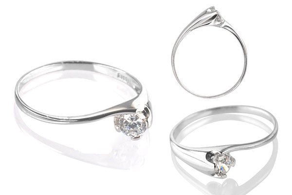 Cubic Zirconia Sterling Silver 4mm Round Solitaire