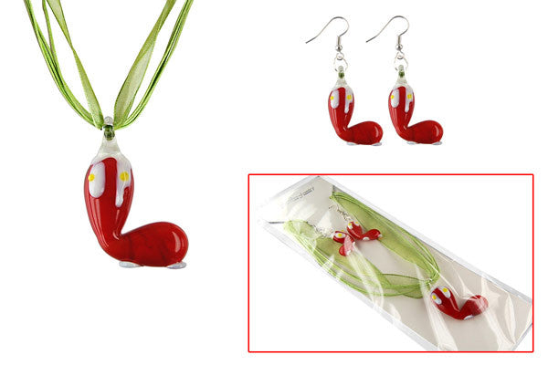 Lampwork Glass Pendant Necklace & Earrings, Christmas Boot