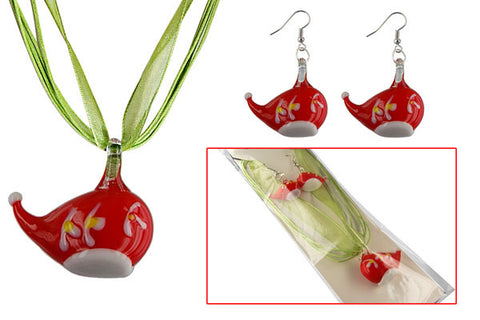 Lampwork Glass Pendant Necklace & Earrings, Christmas Hat