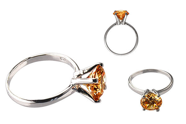 Cubic Zirconia Sterling Silver Golden Topaz Round Solitaire